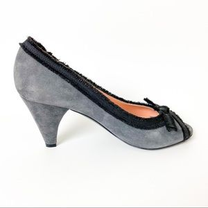 Marc by Marc Jacobs Grey Suede Peep Toe Bow Heel